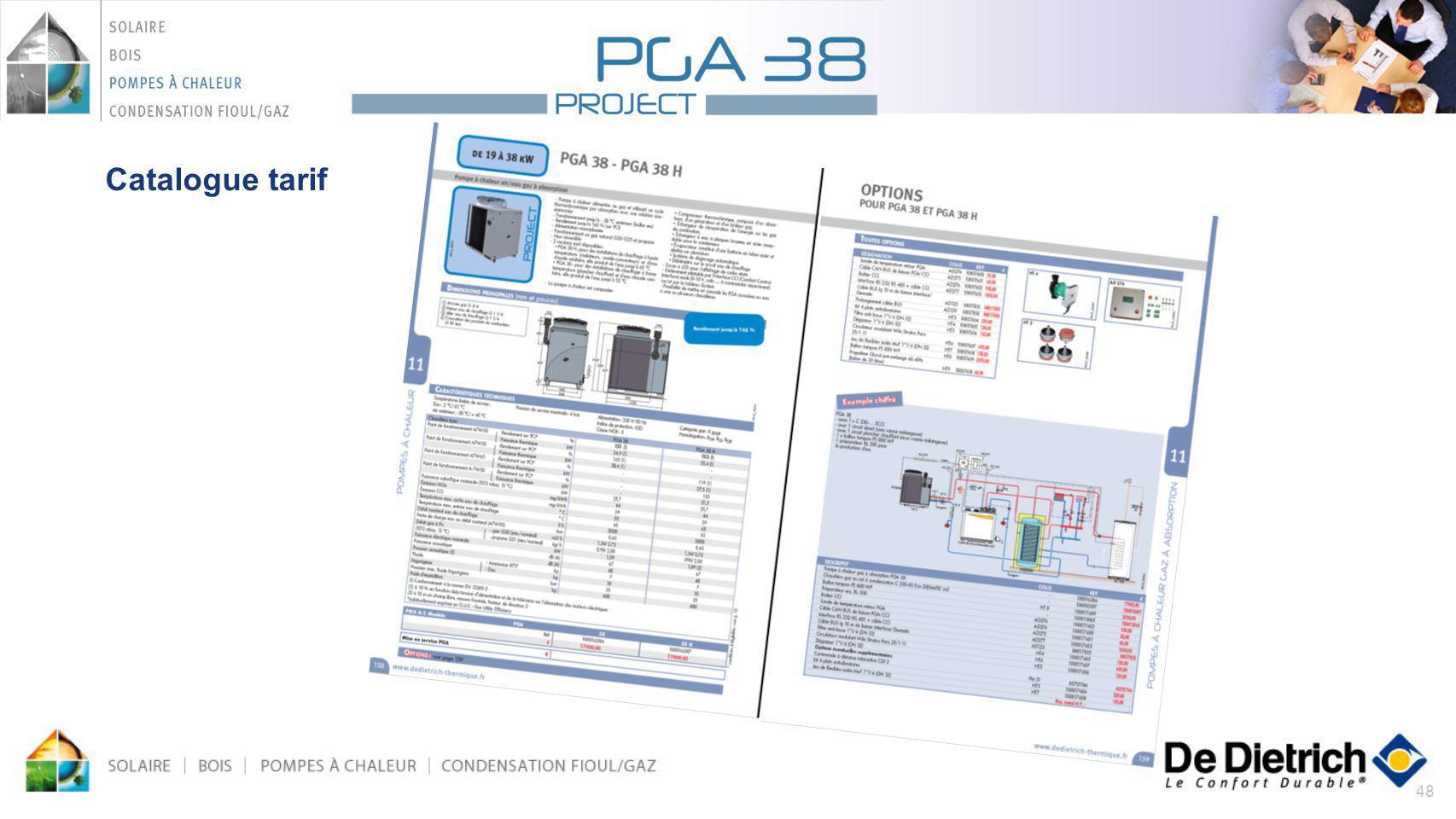 Catalogue tarif