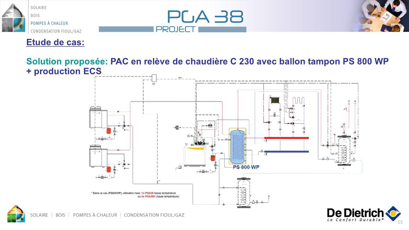 Etude de cas: Solution proposée: PAC en relève de chaudière C 230 avec ballon tampon PS 800 WP + production ECS