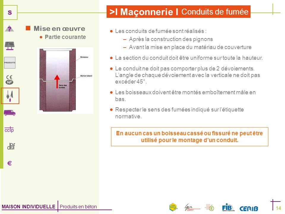 Mise en œuvre Partie courante Les conduits de fumée sont réalisés :