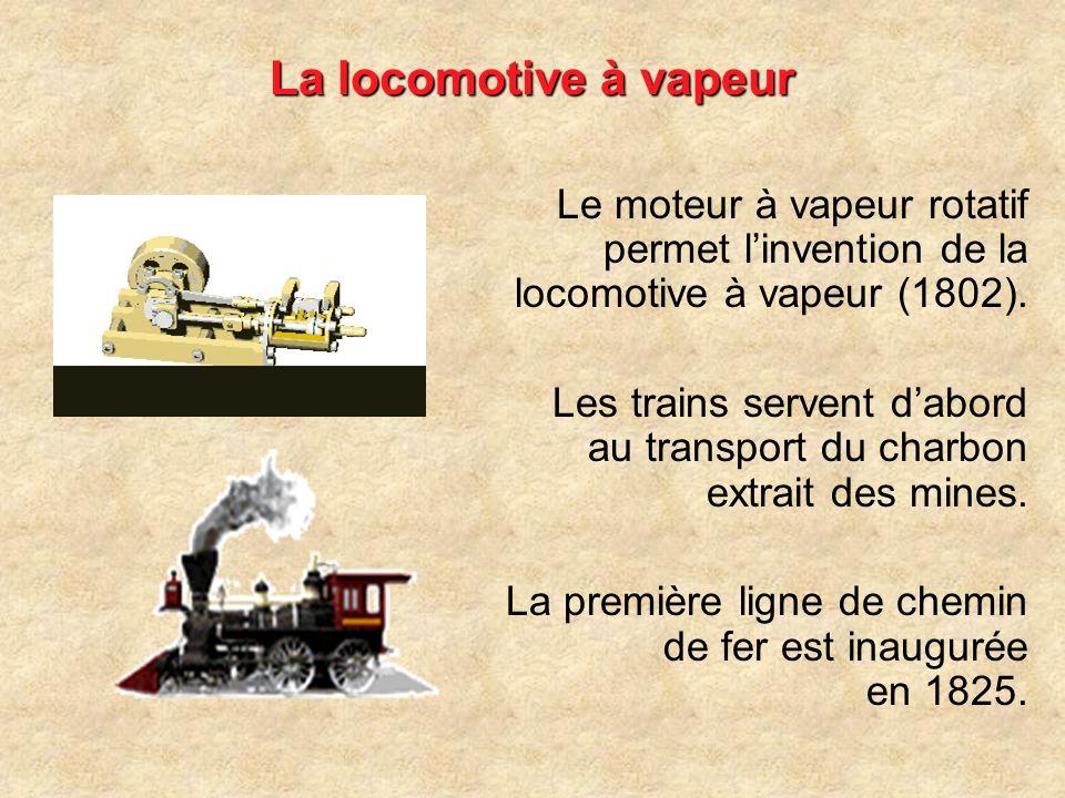 La locomotive à vapeur Le moteur à vapeur rotatif permet l'invention de la locomotive à vapeur (1802).