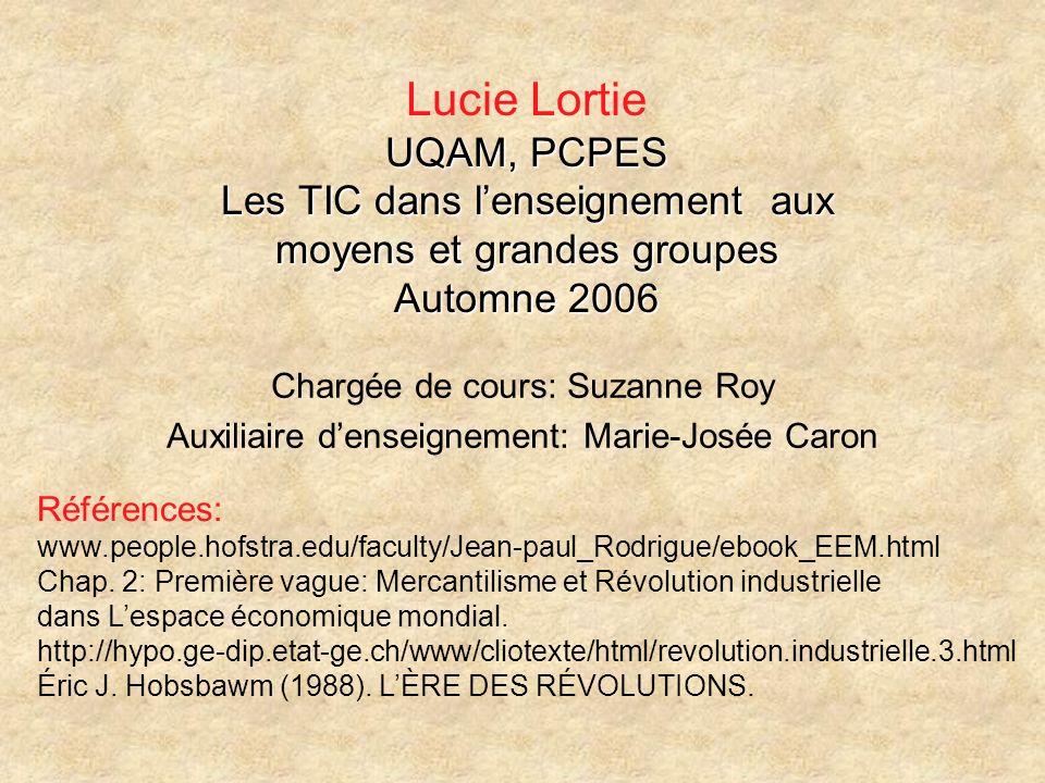 Lucie Lortie UQAM, PCPES Les TIC dans l'enseignement aux moyens et grandes groupes Automne 2006