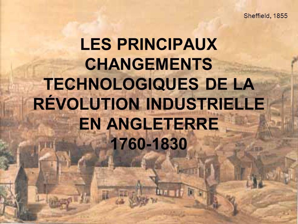 Sheffield, 1855 LES PRINCIPAUX CHANGEMENTS TECHNOLOGIQUES DE LA RÉVOLUTION INDUSTRIELLE EN ANGLETERRE 1760-1830.