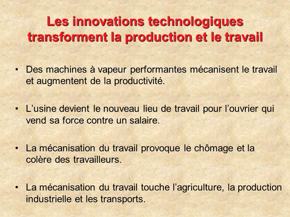 Les innovations technologiques transforment la production et le travail