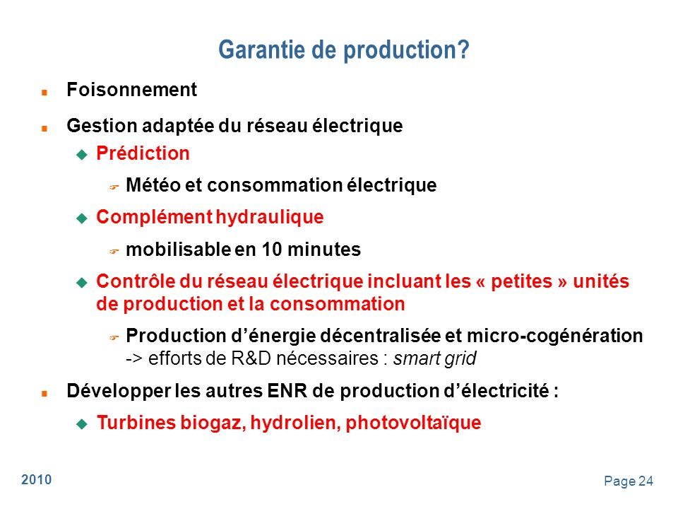 Garantie de production