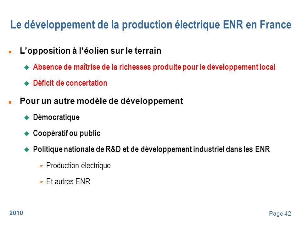 Le développement de la production électrique ENR en France