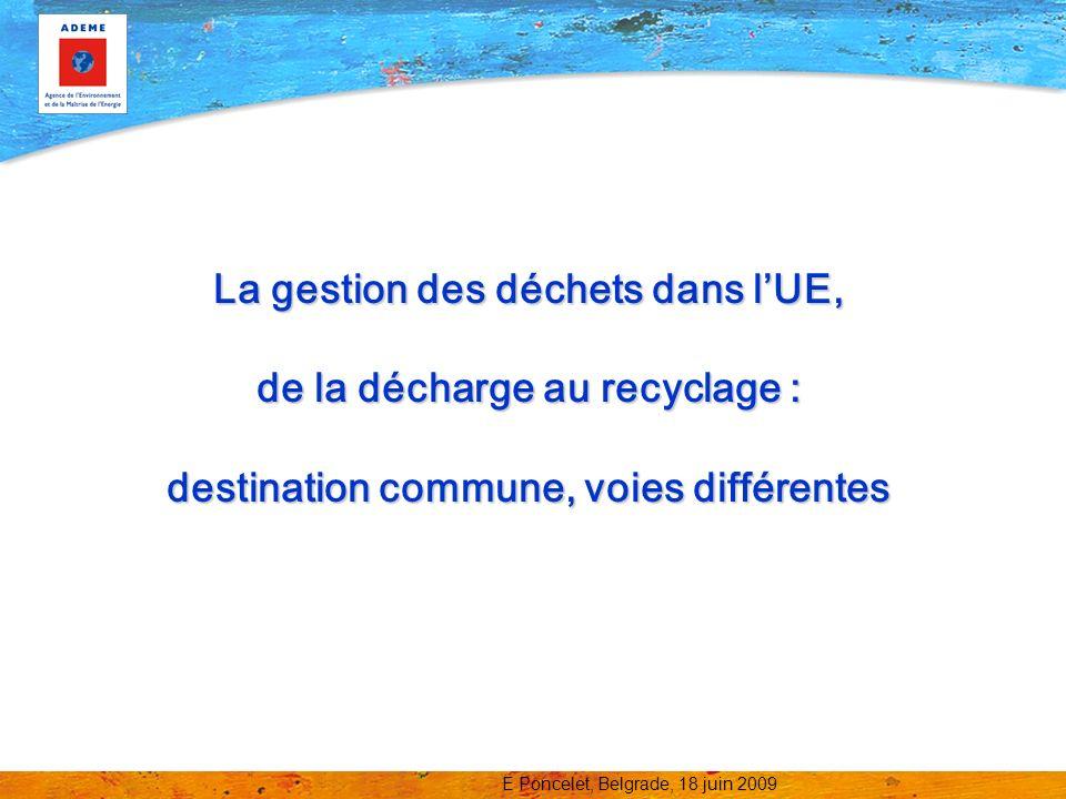 La gestion des déchets dans l'UE, de la décharge au recyclage : destination commune, voies différentes