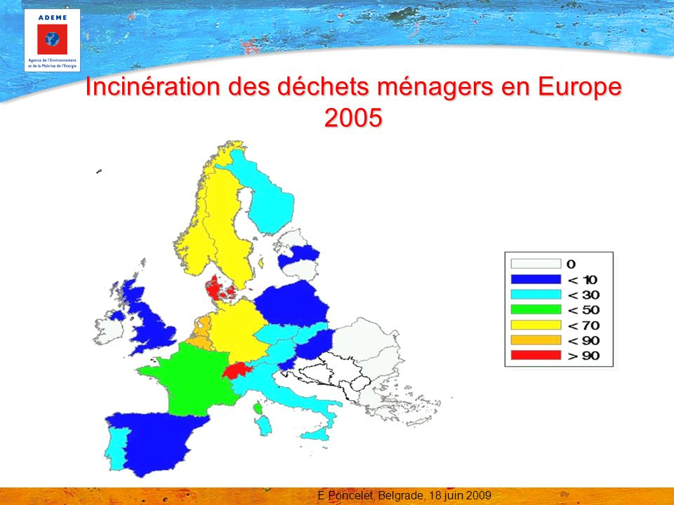 Incinération des déchets ménagers en Europe 2005