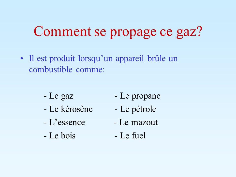 Comment se propage ce gaz