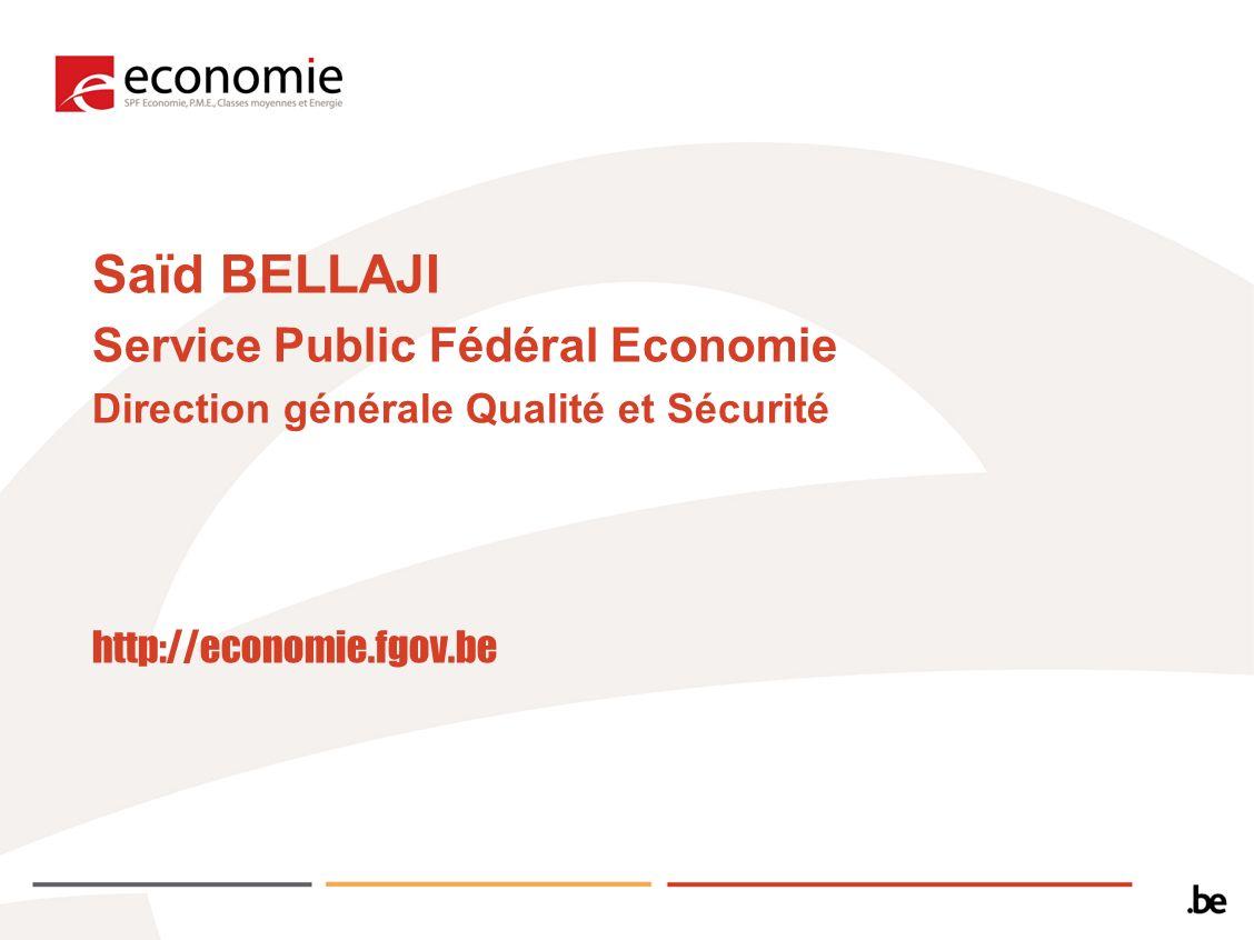 Saïd BELLAJI Service Public Fédéral Economie