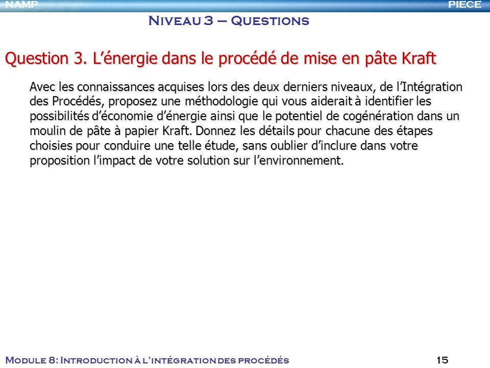 Question 3. L'énergie dans le procédé de mise en pâte Kraft
