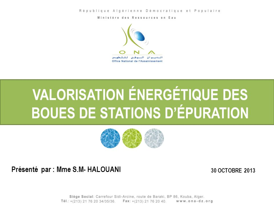 VALORISATION ÉNERGÉTIQUE DES BOUES DE STATIONS D'ÉPURATION