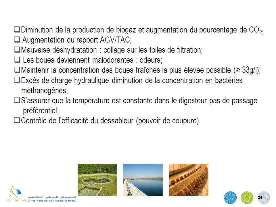 Diminution de la production de biogaz et augmentation du pourcentage de CO2;