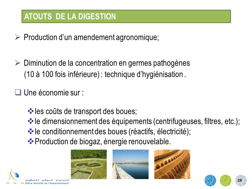 ATOUTS DE LA DIGESTION Production d'un amendement agronomique; Diminution de la concentration en germes pathogènes.