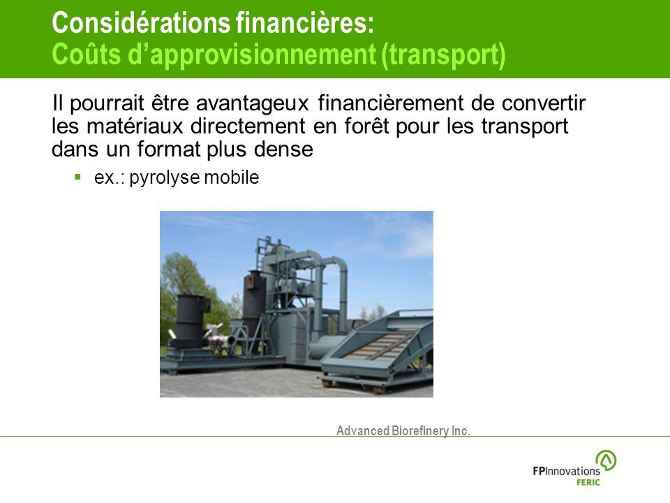 Considérations financières: Coûts d'approvisionnement (transport)