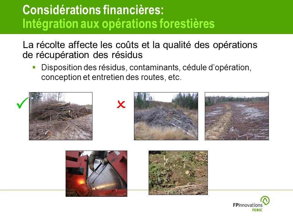 P O Considérations financières: Intégration aux opérations forestières