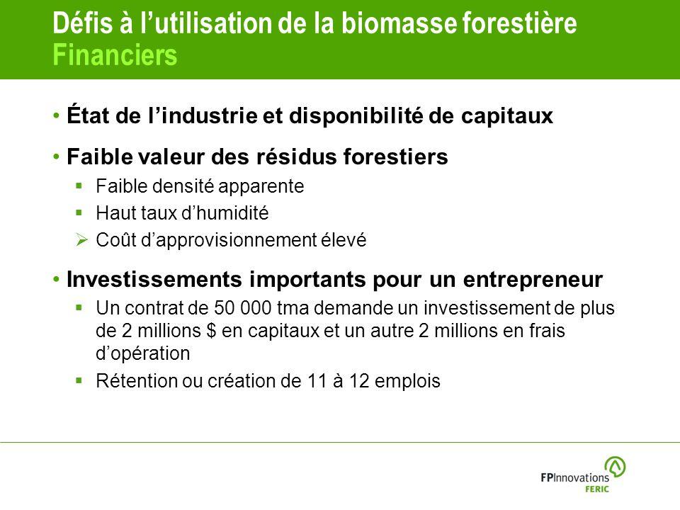 Défis à l'utilisation de la biomasse forestière Financiers
