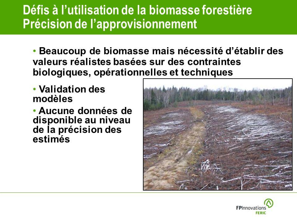 Défis à l'utilisation de la biomasse forestière Précision de l'approvisionnement