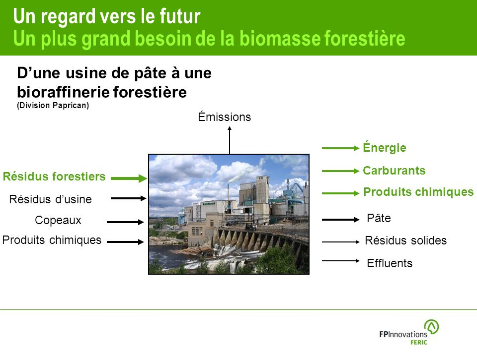 Un regard vers le futur Un plus grand besoin de la biomasse forestière