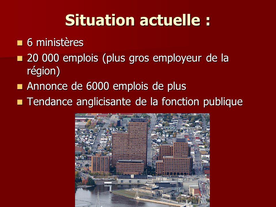Situation actuelle : 6 ministères
