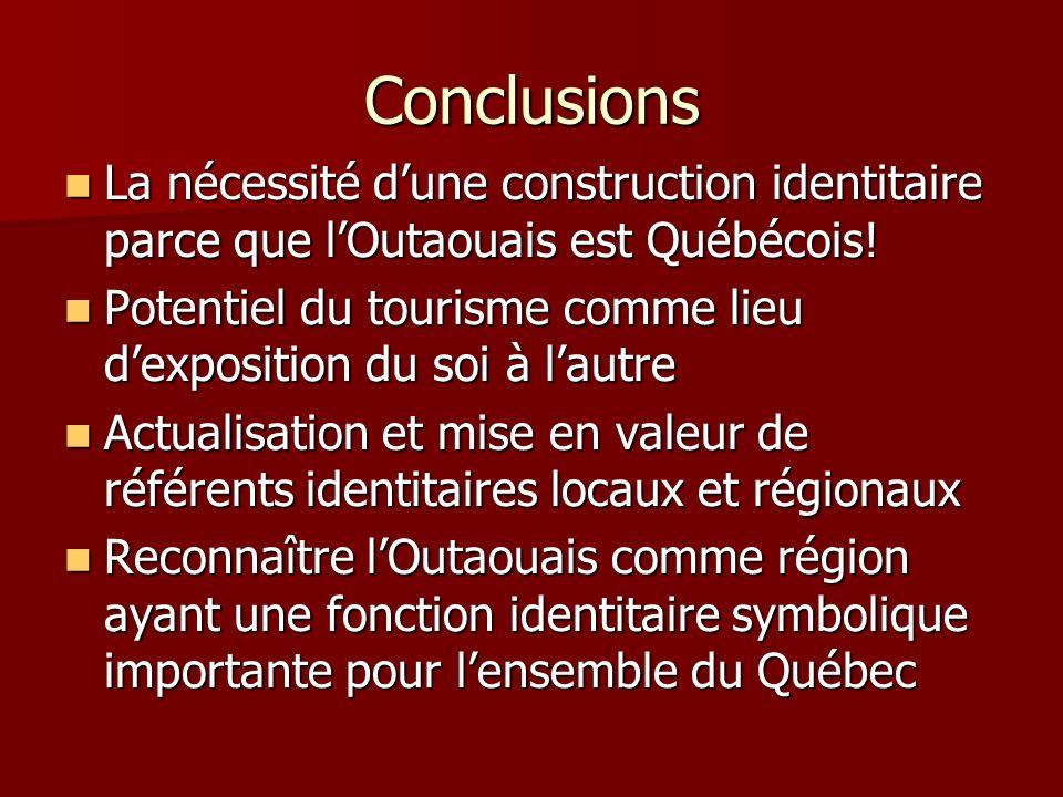 Conclusions La nécessité d'une construction identitaire parce que l'Outaouais est Québécois!