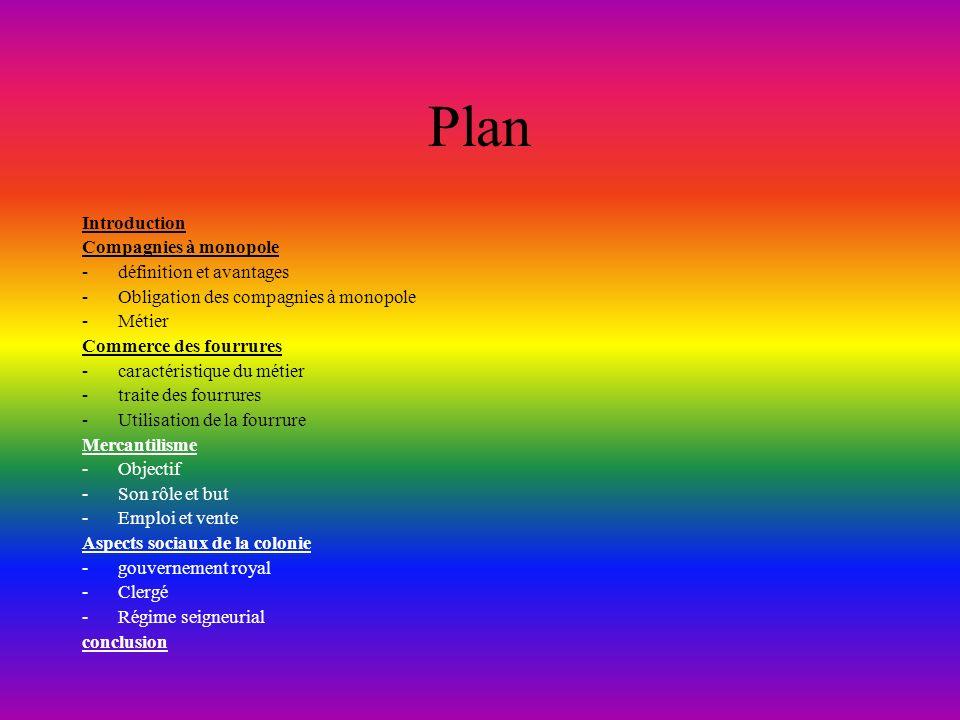 Plan Introduction Compagnies à monopole définition et avantages