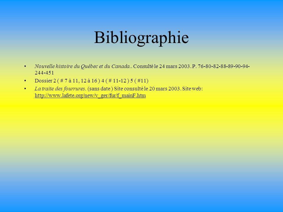 Bibliographie Nouvelle histoire du Québec et du Canada.. Consulté le 24 mars 2003. P. 76-80-82-88-89-90-94-244-451.
