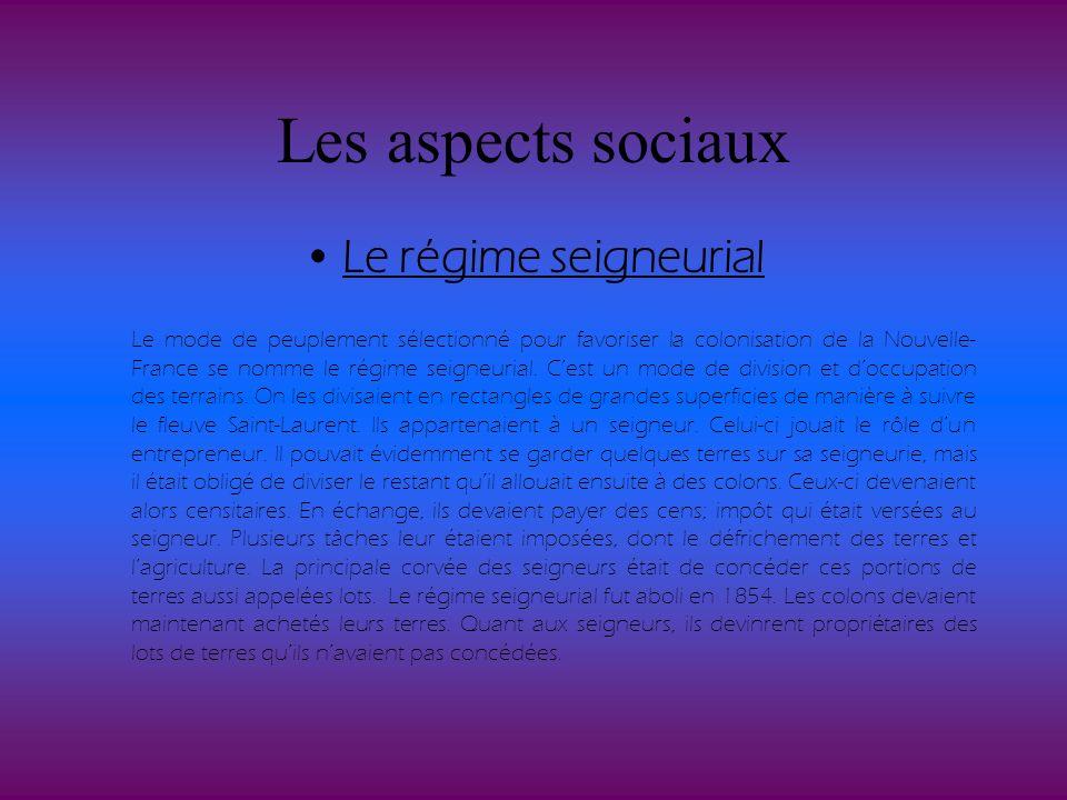 Les aspects sociaux Le régime seigneurial