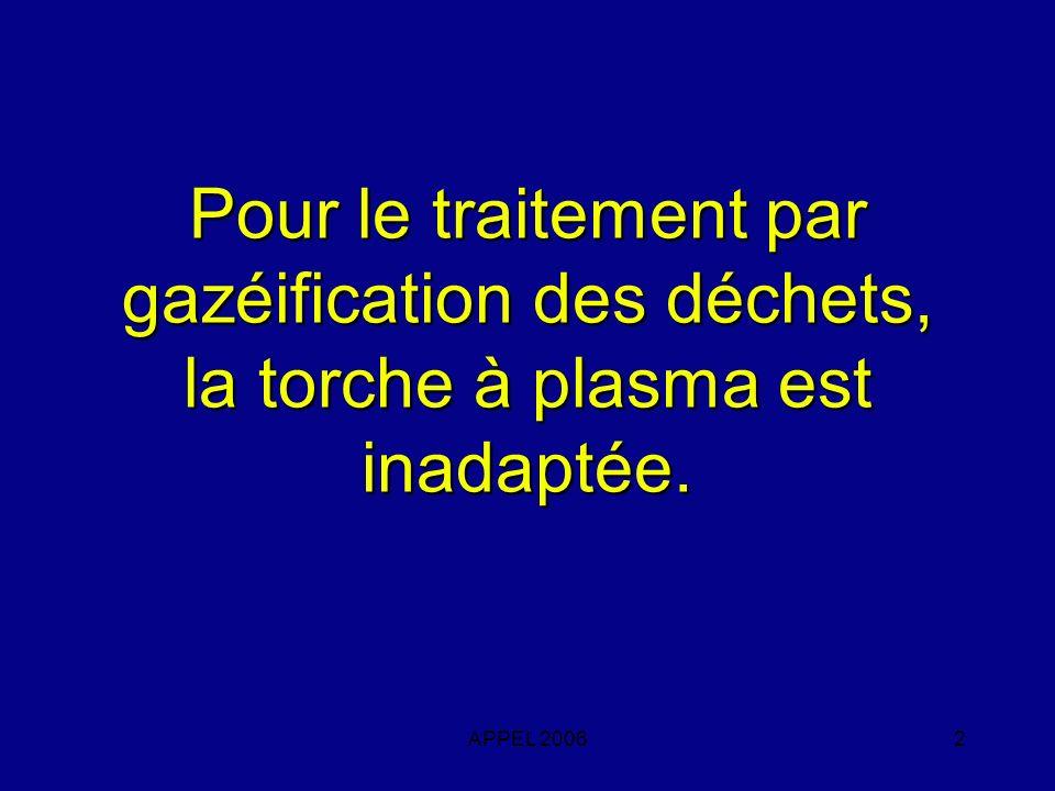 Pour le traitement par gazéification des déchets, la torche à plasma est inadaptée.