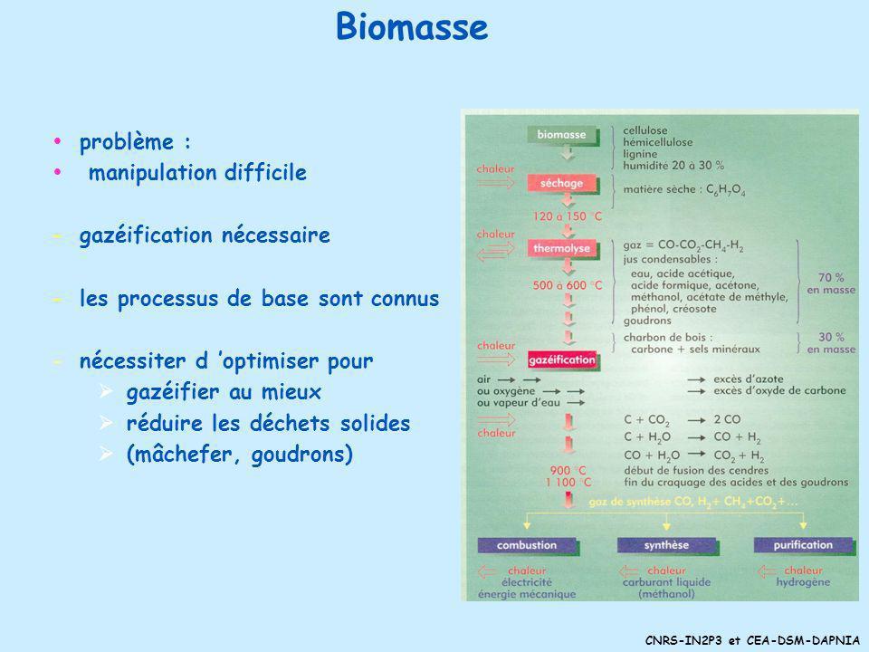 Biomasse problème : manipulation difficile gazéification nécessaire