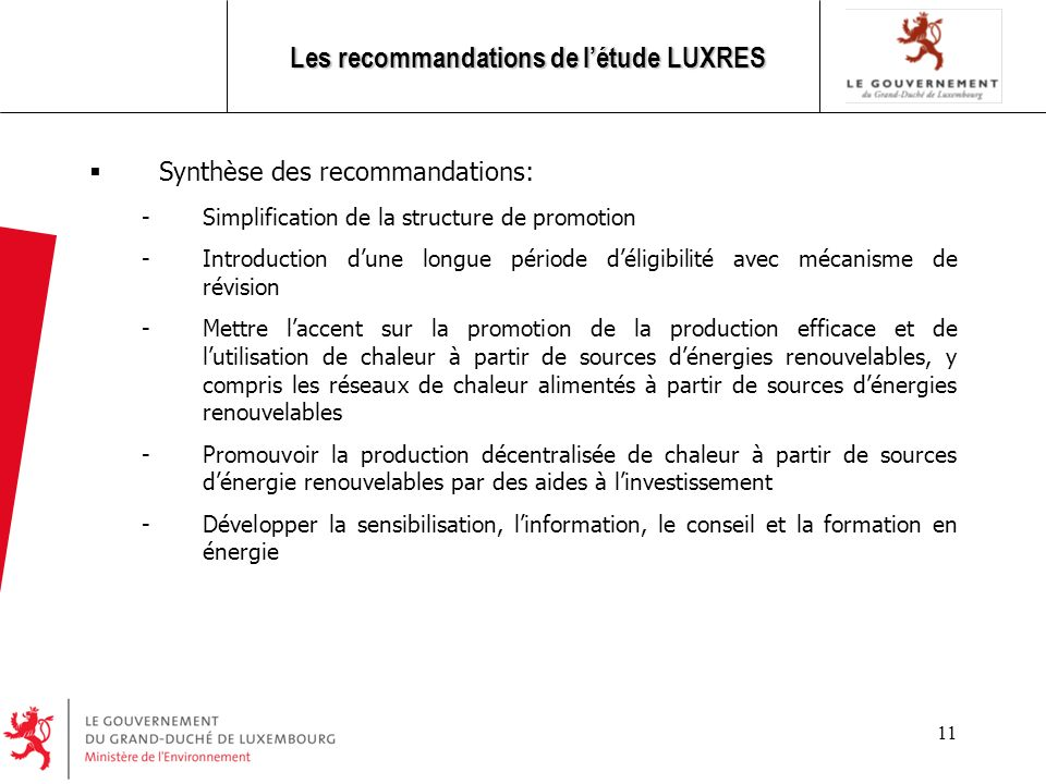 Les recommandations de l'étude LUXRES