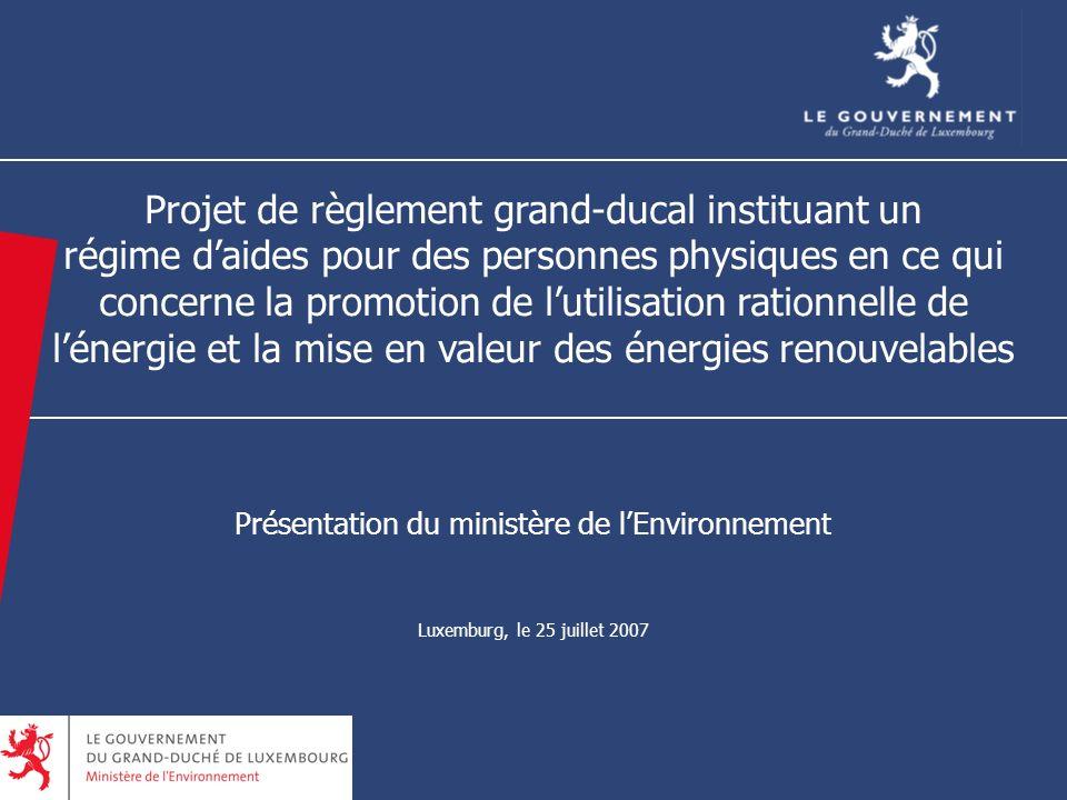 Projet de règlement grand-ducal instituant un