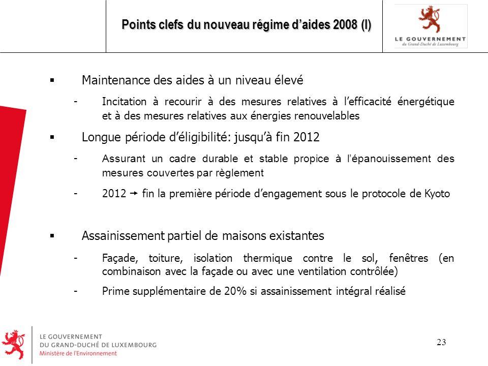 Points clefs du nouveau régime d'aides 2008 (I)