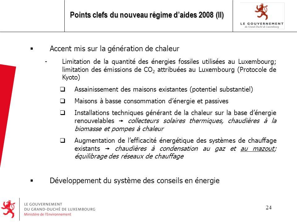 Points clefs du nouveau régime d'aides 2008 (II)