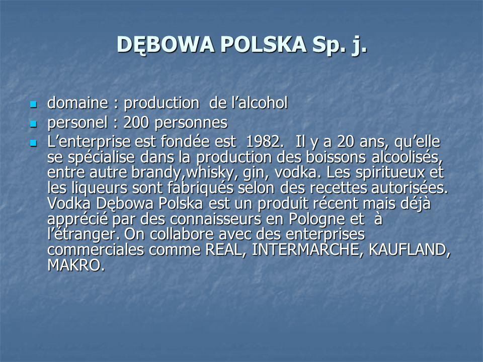 DĘBOWA POLSKA Sp. j. domaine : production de l'alcohol
