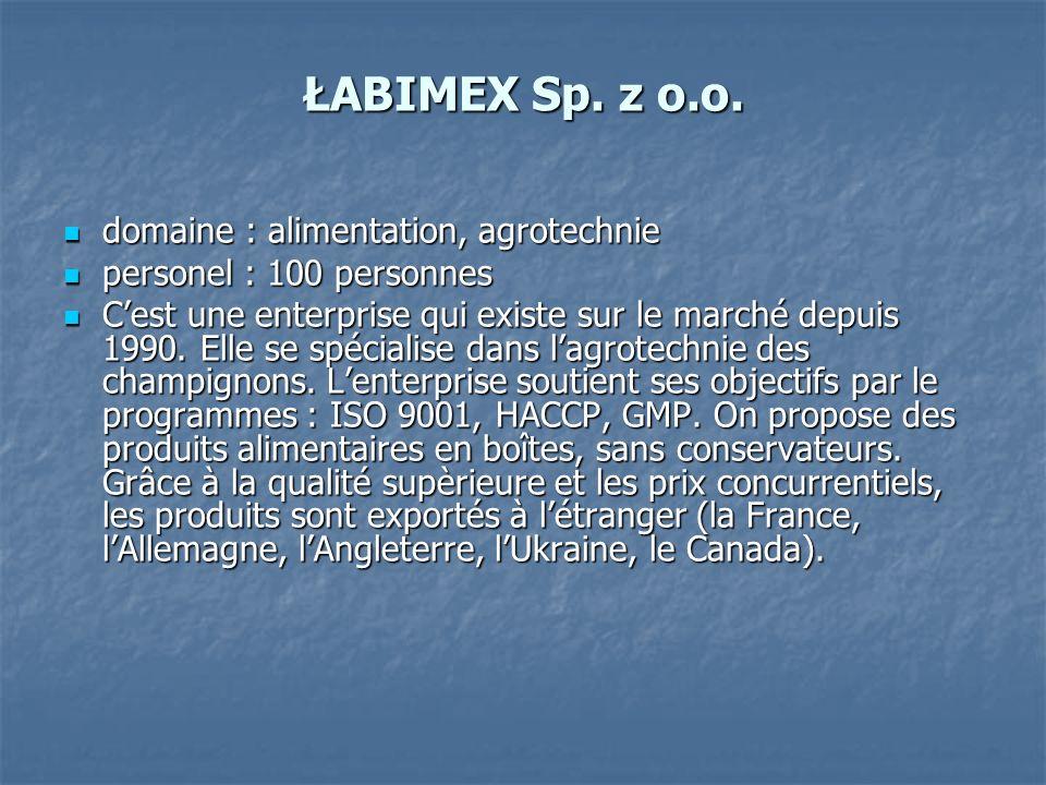 ŁABIMEX Sp. z o.o. domaine : alimentation, agrotechnie