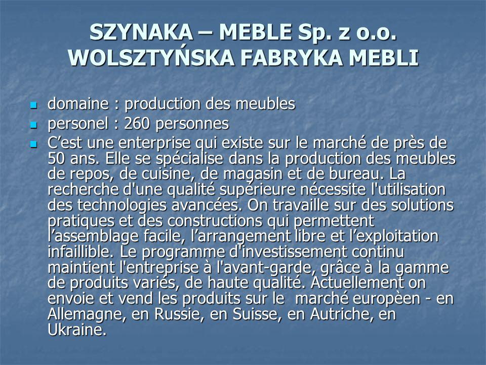 SZYNAKA – MEBLE Sp. z o.o. WOLSZTYŃSKA FABRYKA MEBLI