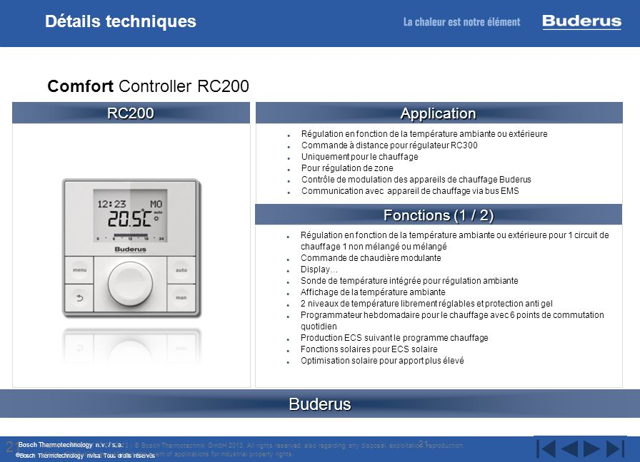 Détails techniques Comfort Controller RC200 Buderus RC200 Application
