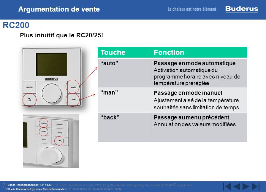 RC200 Argumentation de vente Plus intuitif que le RC20/25! Touche
