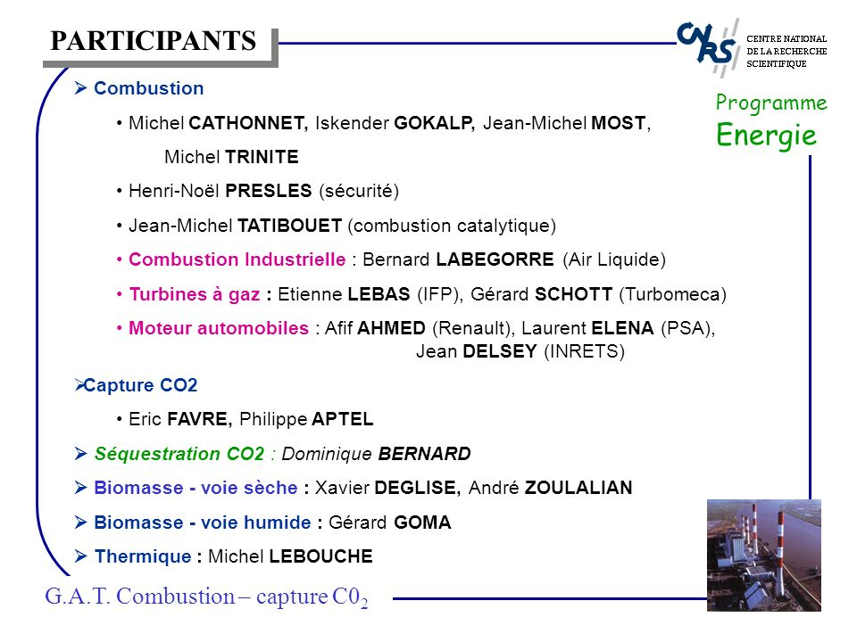 PARTICIPANTS G.A.T. Combustion – capture C02 Programme Energie