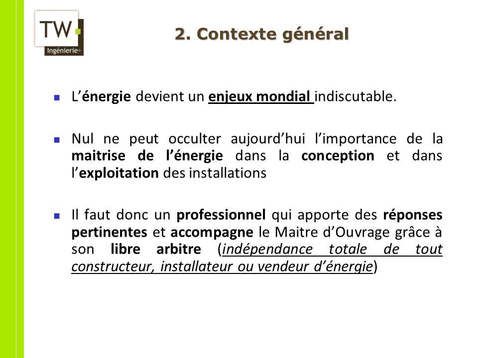 2. Contexte général L'énergie devient un enjeux mondial indiscutable.
