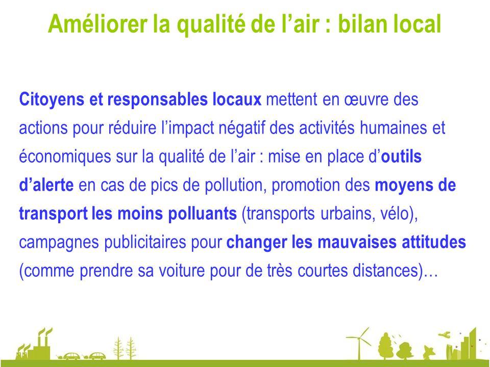 Améliorer la qualité de l'air : bilan local