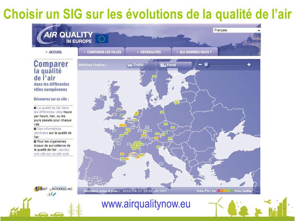 Choisir un SIG sur les évolutions de la qualité de l'air