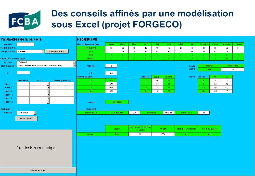 Des conseils affinés par une modélisation sous Excel (projet FORGECO)