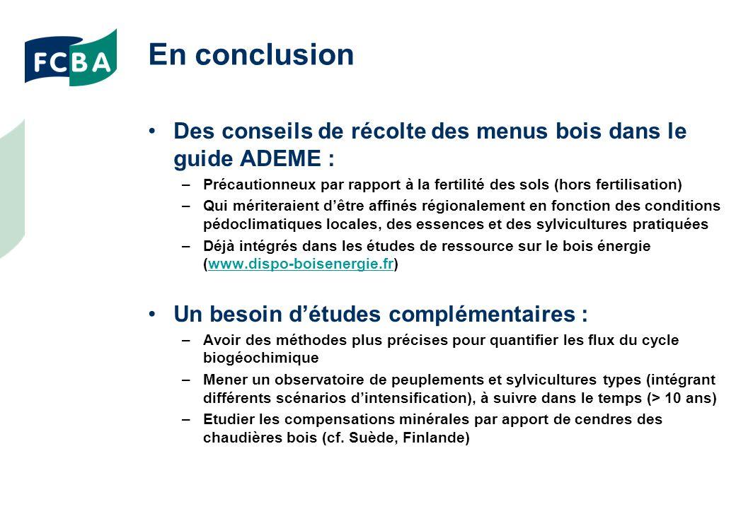En conclusion Des conseils de récolte des menus bois dans le guide ADEME : Précautionneux par rapport à la fertilité des sols (hors fertilisation)