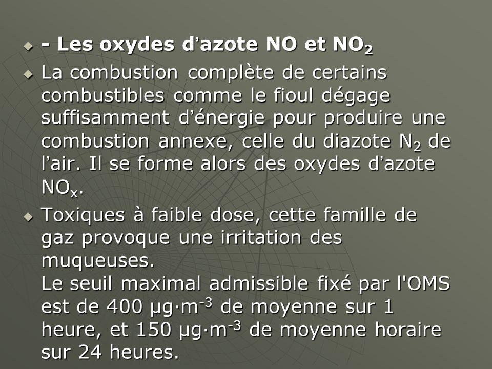 - Les oxydes d'azote NO et NO2