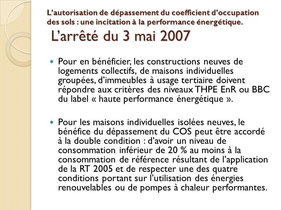 L'autorisation de dépassement du coefficient d'occupation des sols : une incitation à la performance énergétique. L'arrêté du 3 mai 2007
