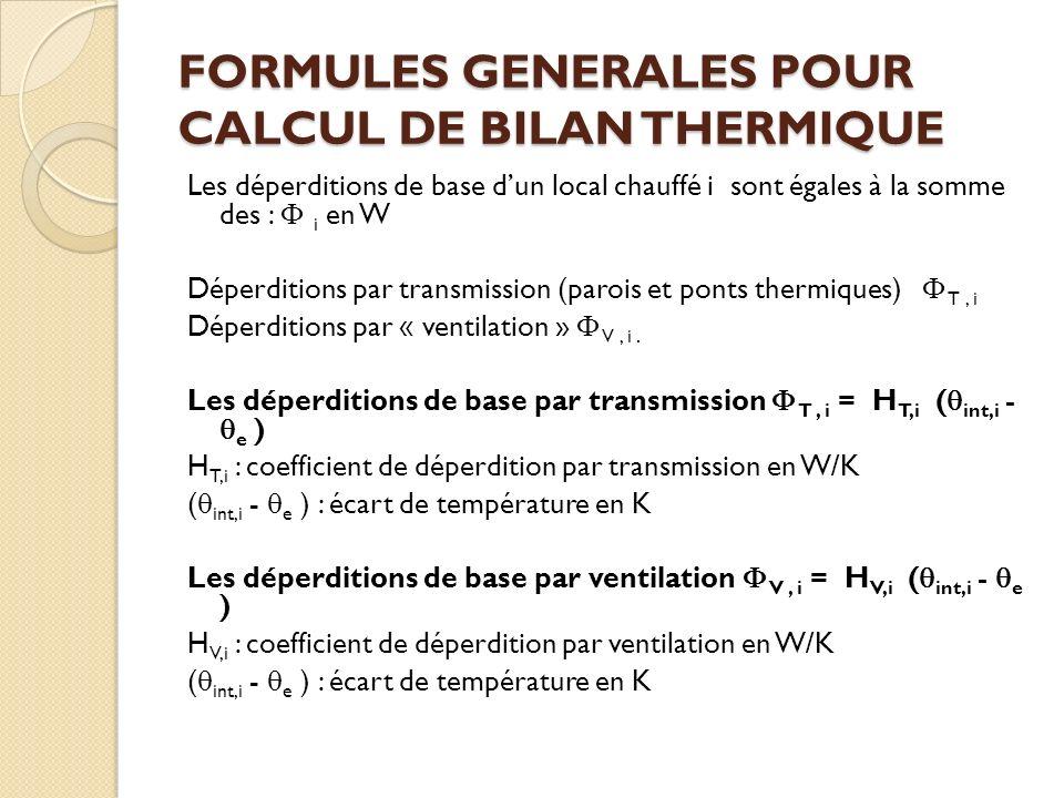FORMULES GENERALES POUR CALCUL DE BILAN THERMIQUE