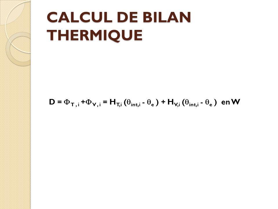 CALCUL DE BILAN THERMIQUE