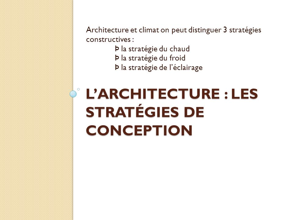 L'ARCHITECTURE : LES STRATÉGIES DE CONCEPTION