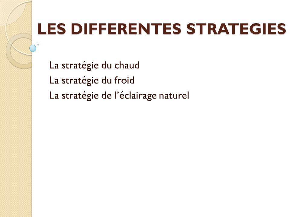 LES DIFFERENTES STRATEGIES